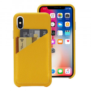 Cassenger Slim Fit Genuine Italian Leather Hard Back Case Protective Cover Snap On Case with 2 Card Holder Slots for Apple iPhone Xs/X-Yellow