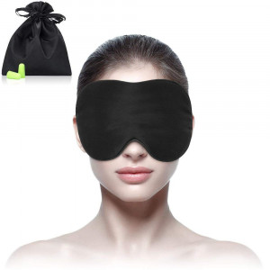 Sleep mask Silk and Eye mask for A Full Night's Sleep, Comfortable with Adjustable Strap, Blindfold, Blocks Light-Earplugs Include
