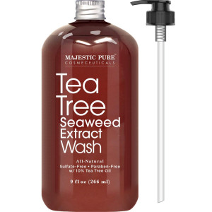 Antifungal Tea Tree Body Wash, All Natural Soap for Men and Women with 10% Tea Tree Oil, Helps Nail Fungus, Athletes Foot, Ringworms, Jock Itch, Acne, Eczema and Body Odor, 9 fl. oz