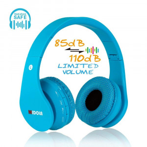 MIDOLA Kids Bluetooth Wireless Headphones Wired On-Ear Headset Foldable Earphone with AUX 3.5mm Jack SD Card Slot, Built-in Mic, FM Radio for Boys Students Children for PC Tablets Cellphone(Blue)