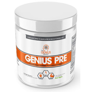 Genius Pre Workout Powder  All Natural Nootropic Preworkout and Caffeine Free Nitric Oxide Booster w/Beta Alanine and Alpha GPC   Boost Focus, Energy and NO   Muscle Builder Supplement Green Apple  20SV