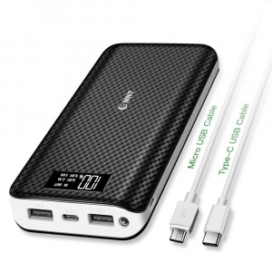 Portable Charger,24000mAh Power Bank EMNT 2.4A Quick Charge 2.0 Compact USB Type C Port External Battery Pack Compatible Smartphones,iPhone X iPhone 8,Ipad,Samsung Galaxy S8,Tablets More-Black