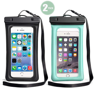"""TeaTronics 2 Pack Floating Waterproof Case, Waterproof Phone Case IPX8 Waterproof Phone Pouch Available TPU Clear Dry Bag for iPhone X/8/8plus/7/7plus/6s/6/6s Plus Samsung up to 6.0"""" (Black-Blue)"""