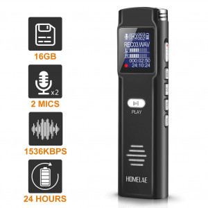 Digital Voice Activated Recorder16GB Mini Sound Audio Recorder for Meetings, Classes,Lectures, Interviews, Portable USB Dictaphone with Noise Reduction, Rechargeable (Black)