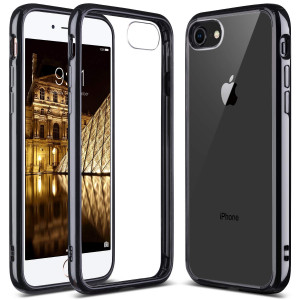 iPhone 8 Case, iPhone 7 Case, ULAK Black Slim Fit Premium Hybrid Shockproof and Scratch Resistant Clear Case Cover Hard Back Panel+TPU Bumper for iPhone 7 and 8 4.7 Inch - Black