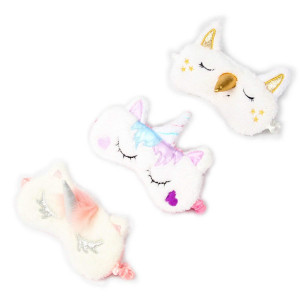 3 Pack Unicorn Sleep Mask Cute Unicorn Horn Soft Plush Blindfold Eye Cover Eyeshade for Teens Girls Women Plane Travel Nap Night Sleeping