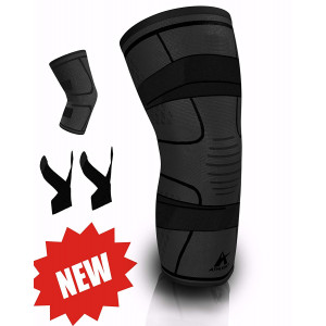 Knee Brace Compression Sleeve with 2 Removable Support Straps - Best for Meniscus Tear, Arthritis, ACL, MCL, Running, Basketball, Crossfit - Speeds Up Recovery and Relieve Pain for Men and Women