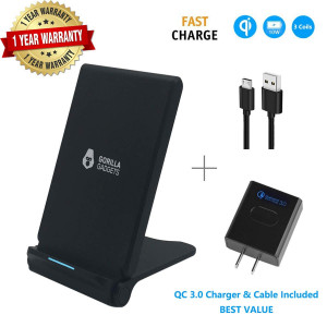 Fast Wireless Charger (with QC 3.0 Adapter), 3 Coils Qi 10W Fast Wireless Charging Foldable Stand Compatible with iPhone X XR XS XS Max 8/8+ Galaxy s9/s9+ Note 9/8 S8/S8+ S7/S7 Edge (Black - Stand)
