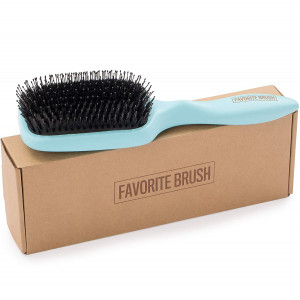 The Favorite Brush, wooden paddle hairbrush with boar bristles and nylon pins. The perfect wet and shine brush, for detangling and adding shine. (Blue hair brush)