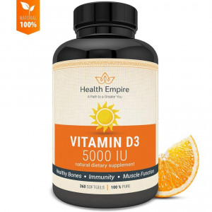 Vitamin D3 5000 iu Softgels - Pure D3 Softgels for Bone Health, Immune Support and Healthy Muscle Function in Extra Virgin Olive Oil - Non GMO and Gluten Free Supplement - Made in USA - 360 Softgels