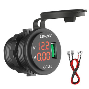 HiGoing 12V/24V Marine USB Outlet, Waterproof QC3.0 Dual USB Charger Socket with Voltmeter and Ammeter Monitoring for Car Boat Motorcycle Mobile (Updated with QC3.0)