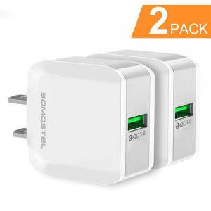 2 Pack Quick Charge 3.0 18W USB Wall Charger, SOMOSTEL Portable Travel Fast Charger Power Adapter Compatible with Samsung Galaxy S9 Note 9,iPhone XR,Moto,LG,Google Pixel,HTC,Kindle,iPad,Android Phone