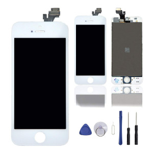 """Screen Replacement for iPhone 5, 4"""" LCD Display Digitizer Touch Screen Frame Full Assembly Set with Repair Tools by Queenswell (White)"""