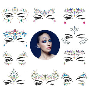 10 Sets Mermaid Face Gems Glitter - Rhinestone Rave Festival Face Jewels,Bindi Crystals Face Stickers, Eyes Face Body Stickers for Music Festivals Bohemian Coachella (Mermaid Tale)