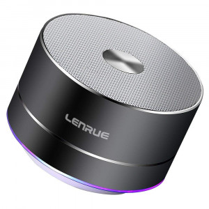 Lenrue Portable Bluetooth Speaker A2 Wireless Mini Outdoor Rechargeable Speakers with LED, Stereo Sound, Enhanced Bass,Built-in Mic for iPhone/IPad/Andriod/Sansung/Tablet Gray
