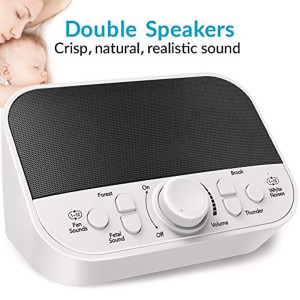 White Noise Machine, LATOW Womb Sound Machine for Baby Sleeping, Portable Sleep Therapy 28 Non-Looping Sounds for Kids Adults Home Office Travel, 2 Speakers,HeadsetJack, DC Output and Timer Sound Spa
