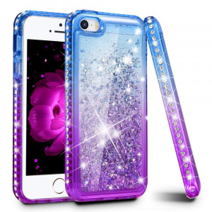 iPhone 5/5S/SE Case, Ruky Quicksand Series Glitter Liquid Floating Bling Diamond Colorful Flexible TPU Cute Case for Apple iPhone 5/5S/SE - Blue/Purple