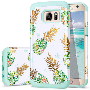 Galaxy S7 Case,Pineapple S7 Cases,Fingic Shiny PineappleandFresh Green Silicone Design Summer Case 2 in1 Hybrid Skin Cover for Samsung Galaxy S7(G930),Green Pineapple/Dandelion