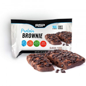 RSP Protein Brownie (12 pk) - 16g of Protein and Gluten Free, Delicious On-The-Go Healthy Snack - Soft Baked Brownie and High Protein Snack, Classic Fudge
