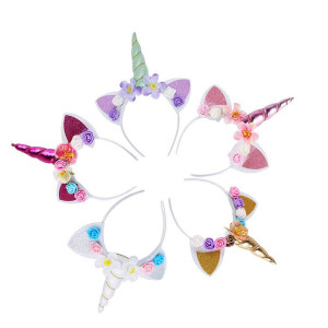 5PCS Glitter Unicorn Horn Headband, Flower Ears Unicorn Headbands for for Girls,Birthday Unicorn Party Supplies, Favors and Decorations, Cosplay Costume
