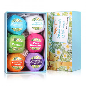 Bath Bombs Gift Kit - 6 Sets Organic Bath Bombs with Essential Oil, Moisturize Dry Skin for Kids