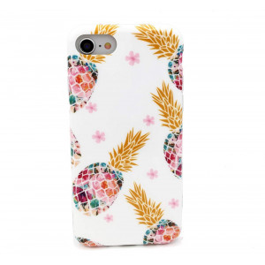 iPhone 8 Case,iPhone 7 Case,White Marble Floral Design Shiny Gold Pineapple Pattern TPU Soft Rubber Bumper Flexible Silicone Cover Shockproof Case for iPhone 7/iPhone 8,Pineapple Blossom