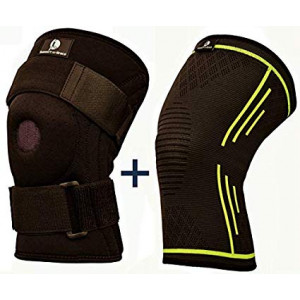 Knee Brace + Bonus Compression Knee Sleeve by Support-n-Brace - Braces and Sleeves for Men and Women - Support Running Gym Basketball - Wrap Either Leg - Pain Relief Recovery - Arthritis ACL PCL Injuries