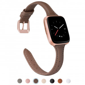 TOYOUTHS Compatible Fitbit Versa Leather Band, Slim Genuine Leather Versa Watch Strap Metal Buckle Built-in Quick Release Pin, Fitbit Versa Wristband Replacement Accessories Women Men