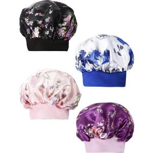 SATINIOR 4 Pieces Soft Satin Sleeping Cap Salon Bonnet Night Sleep Hat Hair Loss Cap (Wide Band)