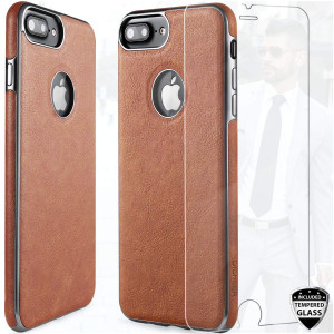 DICHEER Compatible iPhone 7 Plus Case,iPhone 7 Plus Case with Glass Screen Protector,Luxury Matte Brown Leather for Men,Dual Layer Hybrid Defender Soft TPU Bumper Best Protective Cover Classy Case