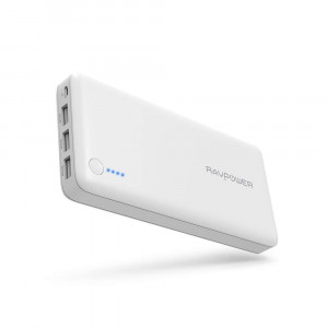Portable Charger RAVPower 26800 Battery Packs 26800mAh Total 5.5A Output 3-Port Power Bank (2A Input, iSmart 2.0 USB Power Pack) Portable Battery Charger Smart Devices (White)