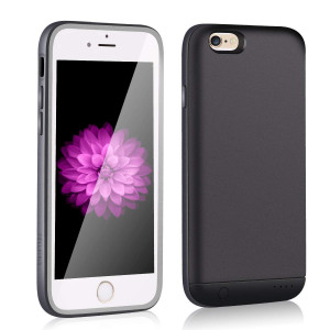 Charging Case for iPhone 6S / 6 Slim, XchuangX 2400mAh Rechargeable Protective Case Battery for Apple iPhone 6 / 6s (4.7 inch), Support 3.5mm Headphone, Answer Call and Sync-Through (Black)