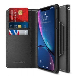 "Maxboost Wallet Case Compatible Apple iPhone XR Case (2018 6.1"") [mWallet Folio Style] [Stand Feature] Protective PU Leather Flip Cover with Credit Card Slots+Side Cash Pocket+Magnetic Clasp Closure"