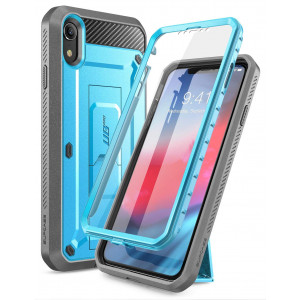 iPhone XR Case, SUPCASE Full-Body Rugged Holster Kickstand Case with Built-in Screen Protector for Apple iPhone XR 6.1 Inch (2018 Release), Unicorn Beetle Pro Series -Retail Package (Blue)