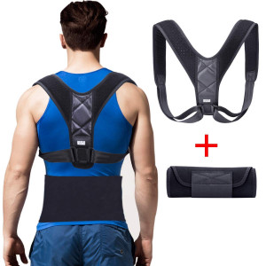 Suxman Posture Corrector and Waist Trimmer for Women Men, Posture Support/Back Brace Clavicle Support Device for Thoracic Kyphosis and Shoulder with Two Soft Pad, with a Bonus of Waist Trainer Ab Belt