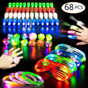 Christmas LED Glow Party Favors for Kids Light Up Toy Bulk Glow In the Dark Party Supplies and 50 LED Finger Lights 10 Light Up Rings 4 Flashing Bracelets 4 Neon Glasses Holiday Birthday Gifts 68 Pack