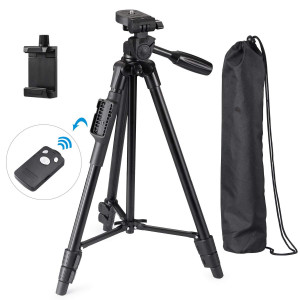 Eocean Tripod, 50 Inch Aluminum Tripod, Video Tripod for Cellphone, Camera, Universal Tripod with Wireless Remote, Compatible with iPhone X/8/8 Plus/Samsung Galaxy/Google/GoPro Hero