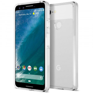 Trianium CLARIUM Series Case Designed for Google Pixel 3 (2018) Premium Clear Hybrid Cover with Shock Absorption TPU and PC Back Reinforced Rigid Corner Cushion/Scratch Resistant - Clear