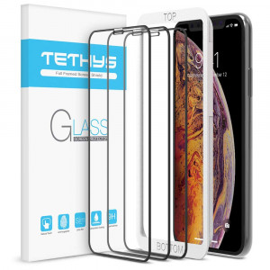 "Tethys Glass Screen Protector Designed for iPhone Xs Max (6.5"") [3-Pack] [Edge to Edge Coverage] Full Protection Durable Tempered Glass for Apple iPhone Xs Max Guidance Frame Included (Pack of 3)"