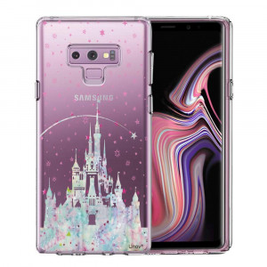 Samsung Galaxy Note 9 Case, Unov Clear with Design Soft TPU Shock Absorption Slim Embossed Pattern Protective Back Cover for Note 9(Watercolor Castle)