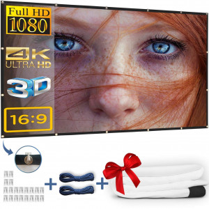 Kandoona 120 Inch Projector Screen HD Wrinkle Free 16:9 Portable Movie Screen with Hanging Holes Indoor Outdoor Projection Screen (Easy to Clean, 1.1 Gain, Carry Bag, 160 Viewing Angle, USA Seller)