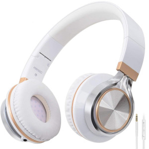 Headphones,BienSound HW50C Stereo Folding Headsets Strong Low Bass Headphones with Microphone for iPhone, All Android Smartphones, PC, Laptop, Mp3/mp4, Tablet Macbook Earphones (WhiteandGold)