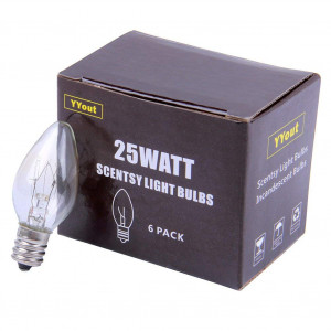 YYout 25 Watt 120V Replacement Light Bulbs for Scentsy Plug-in Nightlight Wax Warmers, Home Fragrance Wax Diffusers and Salt Lamps (Pack of 6)