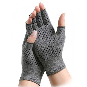 ArthritisHope Therapeutic Compression Gloves with Grips - Hand and Finger Support, Comfort and Relief from Pain Caused by Osteoarthritis and Rheumatoid Arthritis (Medium)