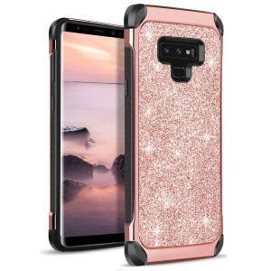 DOMAVER Galaxy Note 9 Case, Note 9 Sparkle Glitter Bling Slim Fit Dual Layer Hybrid Shockproof Hard Back Durable Bumper Protective Phone Case Cover Samsung Galaxy Note 9 (2018), Rose Gold/Pink