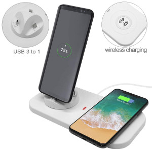 QI Wireless Fast Charging Station Dock Pad and 3 in 1 Multiple Phone Charger Phone Charging Stand with Wireless Charger Fit for IphoneX/8/8Plus Samsung Galaxy S9/S9+/S8/S8+/Note9/Note8 by KONKY(White)
