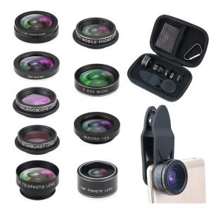 Phone Camera Lens Kit, 9 in 1 Zoom Universal Telephoto Lens + 198Fisheye lens + 0.36 Super Wide Angle Lens + 15X Macro Lens + 0.63X Wide Lens +20X Macro Lens + CPL + Kaleidoscope Lens + Starburst Len