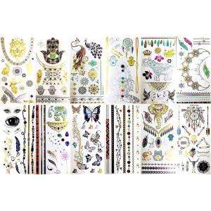 BohoTats Tattoos - Set 1 of 12 Sheets - Over 100+ Intricate Designs - Stunning Flash Metallic Boho Tattoos - Non Toxic - Quality Guarantee - Temporary Metallic Tattoos