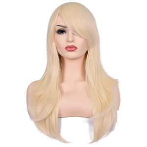 """Morvally 23"""" Long Curly Wig Big Wave Heat Resistant Synthetic Hair with Bangs for Cosplay Costume Halloween Party (613# Light Blonde)"""