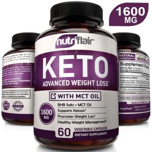 Keto Diet Pills 1600mg Advanced Weight Loss Ketosis Supplement - Natural BHB Salts (beta hydroxybutyrate) Ketogenic Carb Blocker and Fat Burner Capsules - Best Keto Pills - Ideal Weight Loss Support